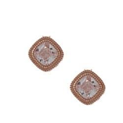 La Preciosa Rose Goldplated Silver Cubic Zirconia Square Earrings