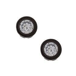 La Preciosa Black-plated Sterling Silver Round Cubic Zirconia Earrings