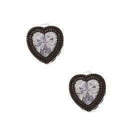 La Preciosa Black-plated Silver Cubic Zirconia Heart Earrings