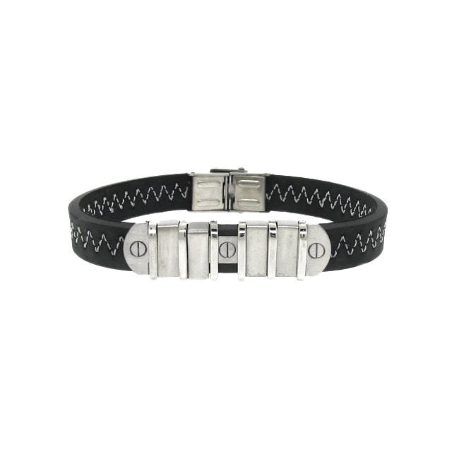 Stainless Steel and Black Leather Men's Bracelet