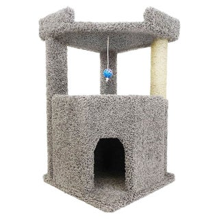 New Cat Condos Wood/Carpet/Sisal Rope 33-inch Corner Roost Sturdy Cat Tree (Option: Gray)