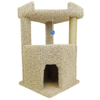 New Cat Condos Wood/Carpet/Sisal Rope 33-inch Corner Roost Sturdy Cat Tree (Option: Beige)