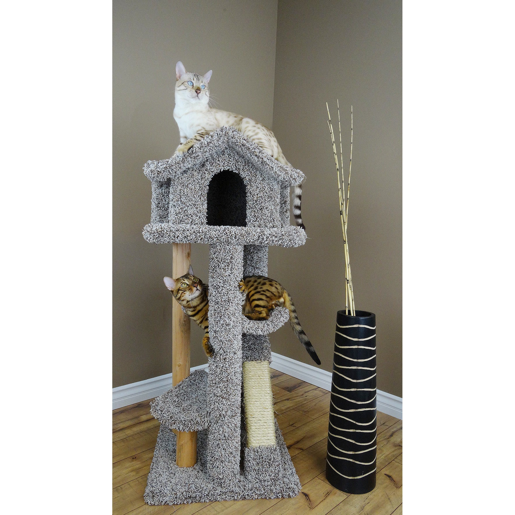 "New Cat Condos 46"" Large Pagoda Cat Tree (Beige), Brown"