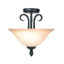 Woodbridge Lighting Jamestown 2-light Textured Black Semi Flush Mount