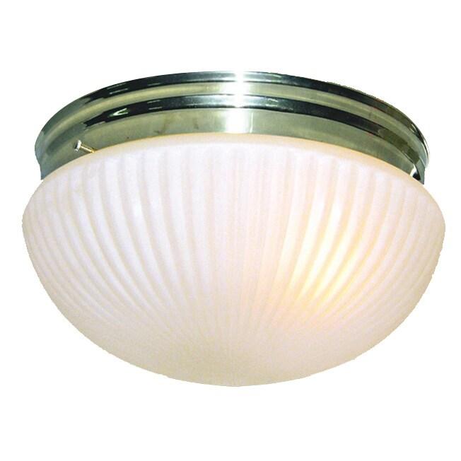 Woodbridge Basic 1-light Polished Brass Prism Glass Flush...