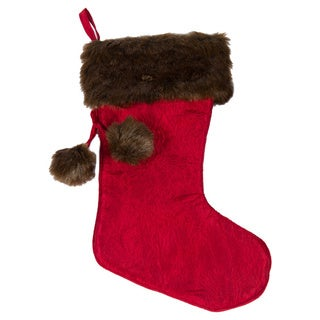 Selections by Chaumont Noel Stocking with Faux Mink Cuff and Pom Pom