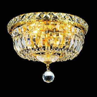 Elegant Lighting Crystal Chandelier Gold Flush Mount Light