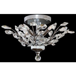 Somette Crystal 4-light Chrome Chandelier Flush Mount