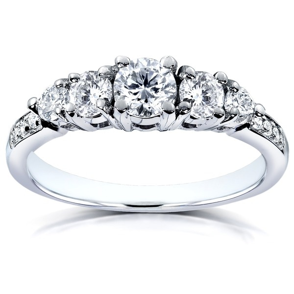 Annello by Kobelli 14k White Gold 3/4ct TDW Diamond Engagement Ring