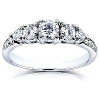Annello by Kobelli 14k White Gold 3/4ct TDW Diamond Engagement Ring