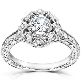 Annello by Kobelli 14k White Gold 1/2ct TDW Diamond Edwardian Antique Engagement Ring (H-I, I1-I2)