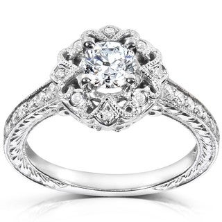 Annello by Kobelli 14k White Gold 1/2ct TDW Diamond Edwardian Antique Engagement Ring
