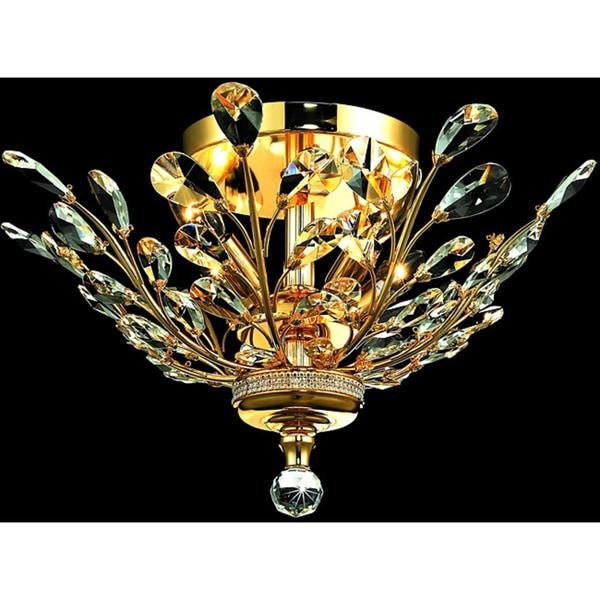 Somette Crystal 4-light Gold Chandelier Flush Mount