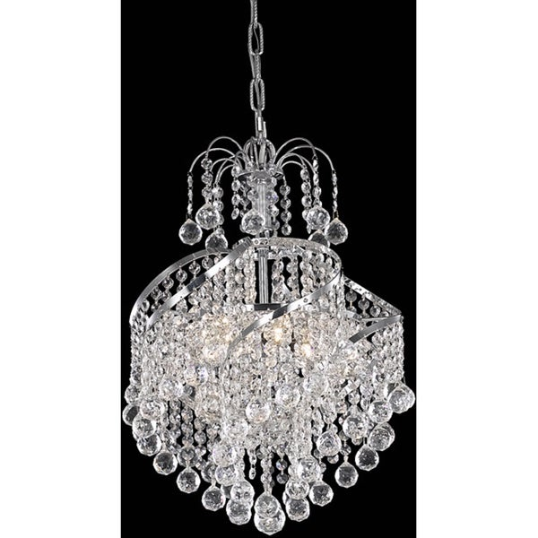 Somette Crystal Four-Light Chrome Metal Chandelier