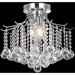 Somette Crystal 3-light Chrome Chandelier Flush Mount