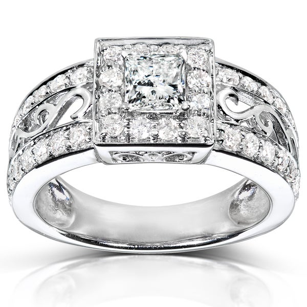 Annello 14k White Gold 1ct TDW Swirl Princess Diamond Ring (H-I, I1-I2)