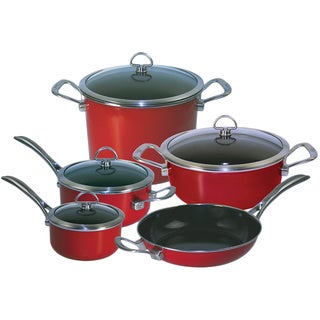 Chantal 80-9RE Chili Red Copper Fusion 9-piece Cookware Set