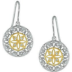 Gold over Sterling Silver Two-tone Vintage Style CZ Earrings