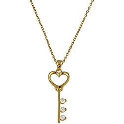 Gold over Sterling Silver Cubic Zirconia Heart Key Necklace