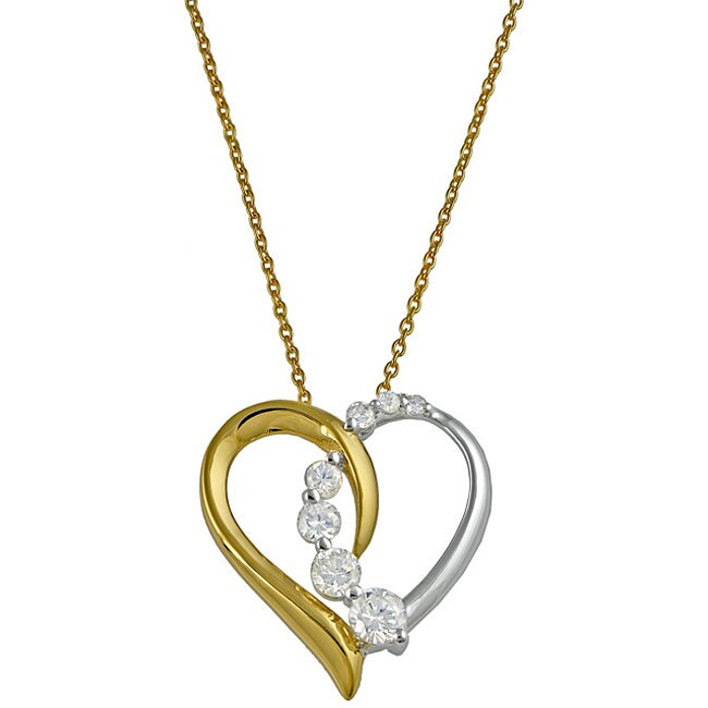 Gold over Sterling Silver Two-Tone Cubic Zirconia Heart Necklace