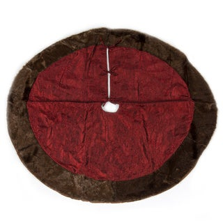 Christmas Burgundy Tree Skirt with Mink Fur Border by Selections by Chaumont