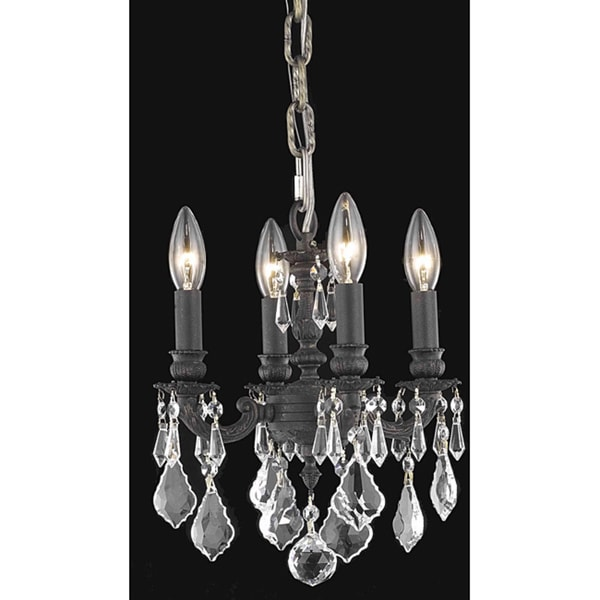 Somette Crystal 4-light Dark Bronze Finish Chandelier