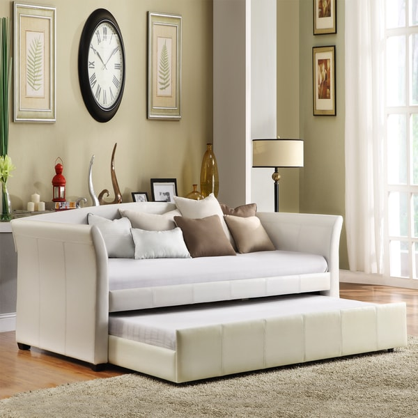 tribecca home deco white faux leather modern daybed with trundle - Leather Daybed