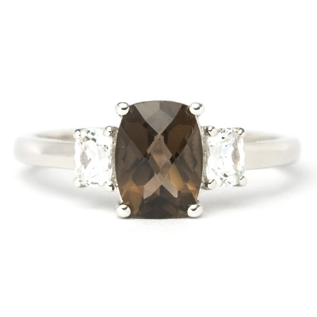 Sterling Silver Smokey Quartz and Cubic Zirconia Ring