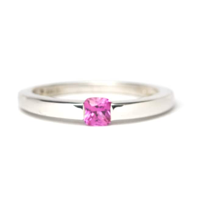 Sterling Silver Created Pink Sapphire Solitaire Ring