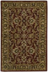 "Nourison Traditional Hand-Tufted Caspian Burgundy Wool Rug (2'6"" x 4')"