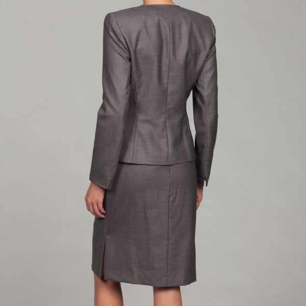 tahari s grey two button skirt suit free shipping