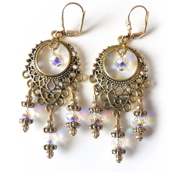 Goldtone Crystal 'Isabella' Chandelier Earrings