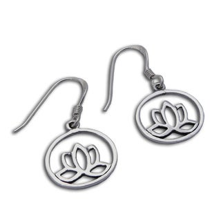 Handmade Sterling Silver Enlightenment Lotus Flower Earrings (Thailand)