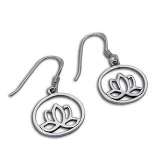 Handmade Sterling Silver Enlightenment Lotus Flower Earrings (Thailand)