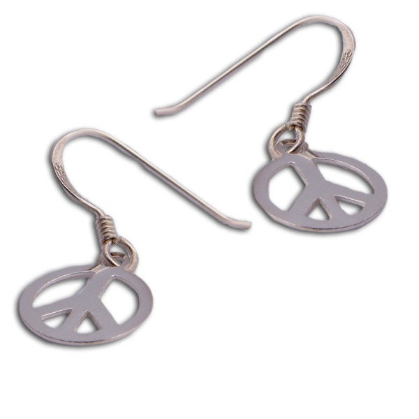 Handmade Sterling Silver Peace Sign Earrings Thailand
