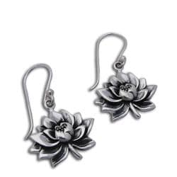 Handmade Sterling Silver Water Lily Earrings (Thailand)