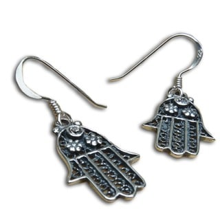 Sterling Silver Hamsa Protection Earrings (Thailand)