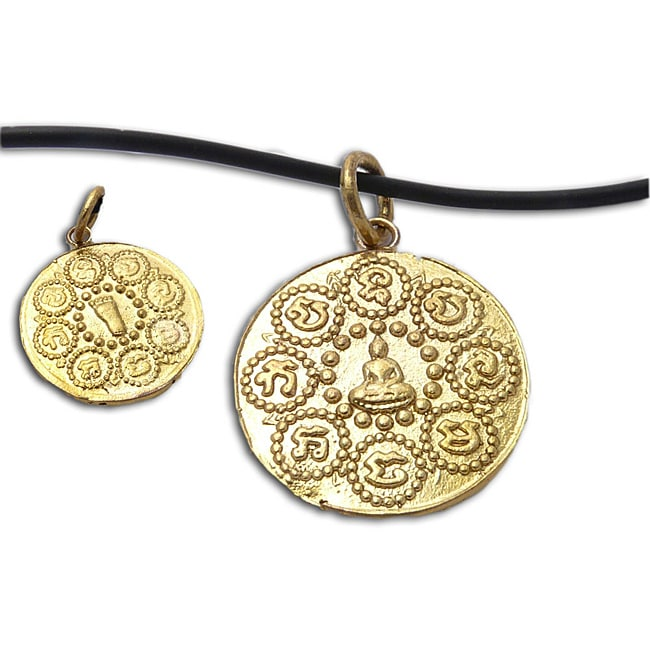 Handmade Recycled Brass Om Mani Padme Hum Buddha Necklace (Indonesia)