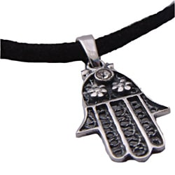 Sterling Silver Hamsa Protection Necklace (Thailand)