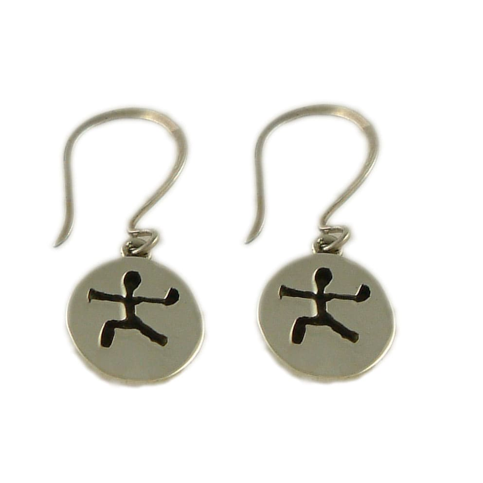 Handmade Sterling Silver Warrior II Yoga Pose Earrings (India)