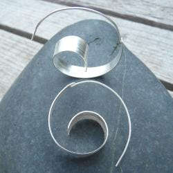Sterling Silver Spiral Wave Hoop Earrings (India)
