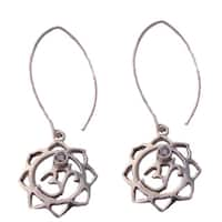 Handmade Sterling Silver Om Lotus Earrings (India)