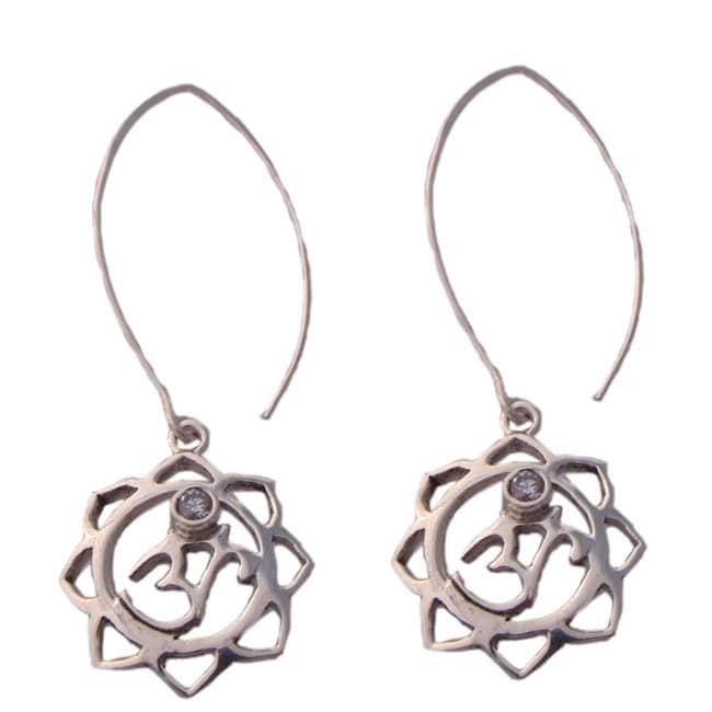 Handmade Sterling Silver Om Lotus Earrings (India)