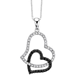 Auriya 14k Gold 1/3ct TDW Black and White Diamond Heart Necklace (G-H, I1-I2)