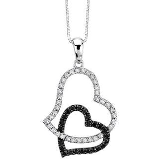 Auriya 14k Gold 1/3ct TDW Black and White Diamond Heart Necklace