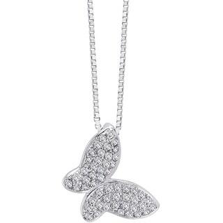 Auriya 14k White Gold 1/6ct TDW Diamond Butterfly Necklace (G-H, I1-I2)