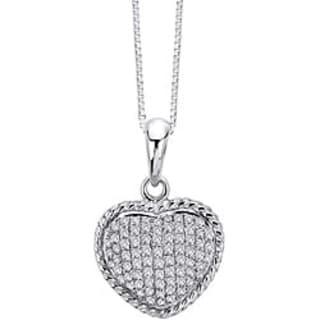 14k White Gold 1/3ct TDW Diamond Heart Necklace
