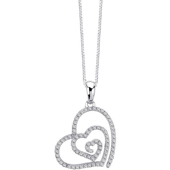Auriya 14k White Gold 1/4ct TDW Diamond Swirl Heart Necklace (G-H, I1-I2)