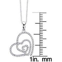 Auriya 14k White Gold 1/4ct TDW Diamond Swirl Heart Necklace (G-H, I1-I2) - Thumbnail 2
