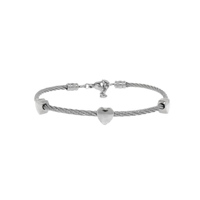 Stainless Steel Twisted Wire Heart Bracelet